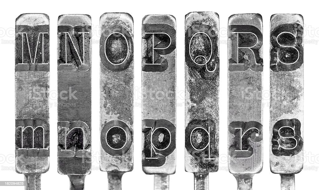 Old Typewriter Typebar Letters M to S Isolated on White stock photo