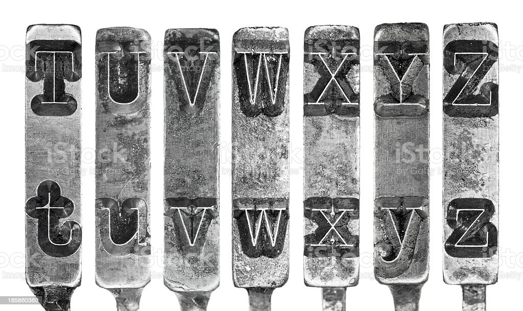 Old Typewriter Typebar Letters T to Z Isolated on White stock photo
