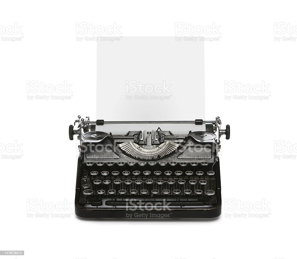 Old typewriter with copy space stock photo