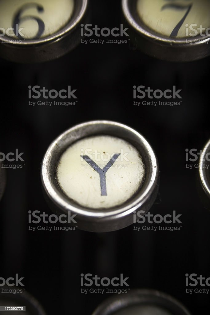 Old Typewriter - Y Key royalty-free stock photo