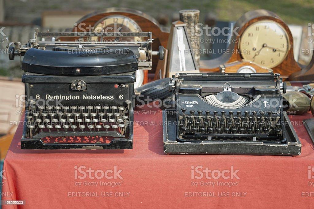 Old typewriters stock photo
