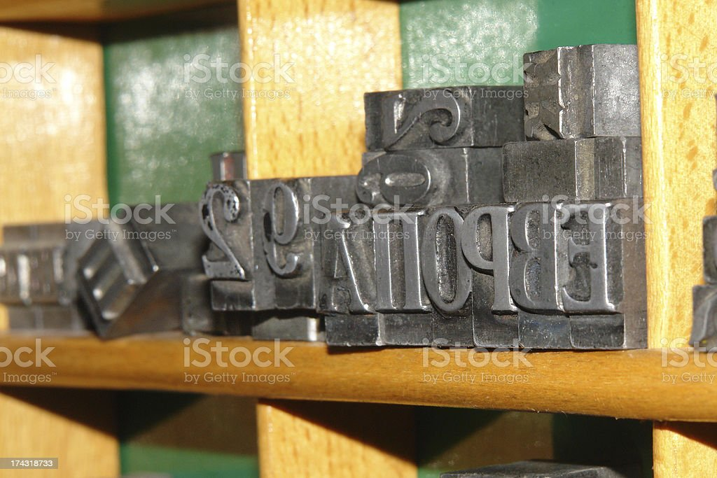 Old typography shelf.and lead metallic letters for oldfashioned printing stock photo
