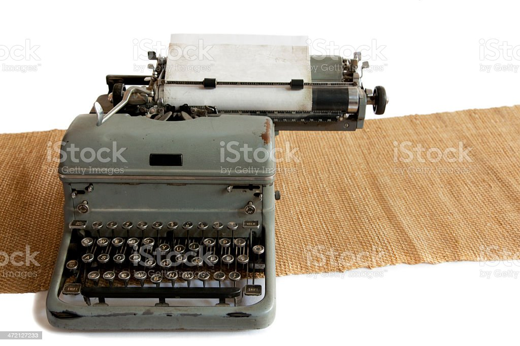 Old Typwriter With Paper On Mat stock photo