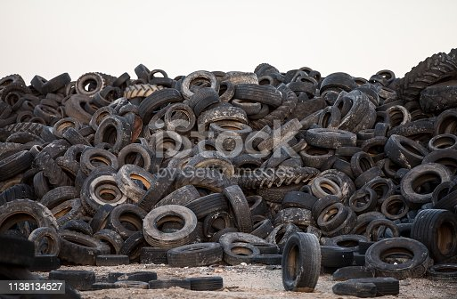 Old tyres polluting the nature. Environmental pollution.