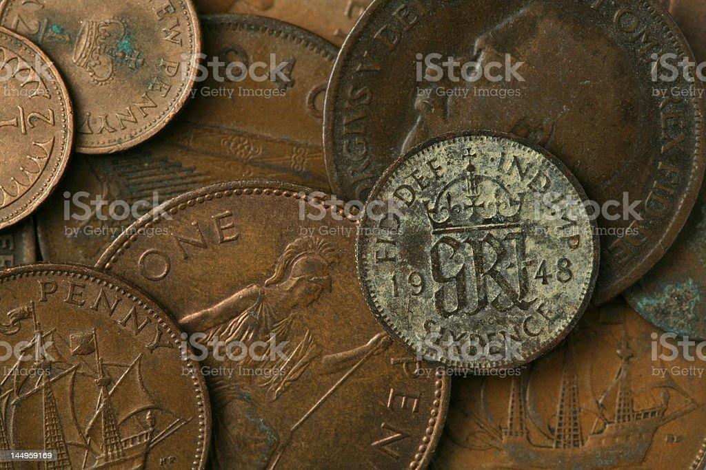 Old UK Coins Texture royalty-free stock photo
