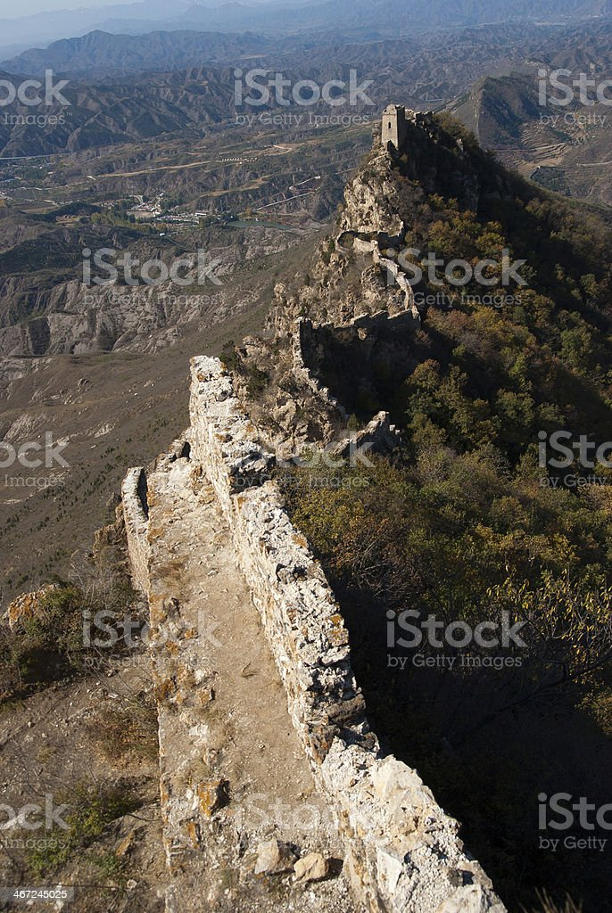 Old unrepaired chinese Great Wall in Simatai section stock photo
