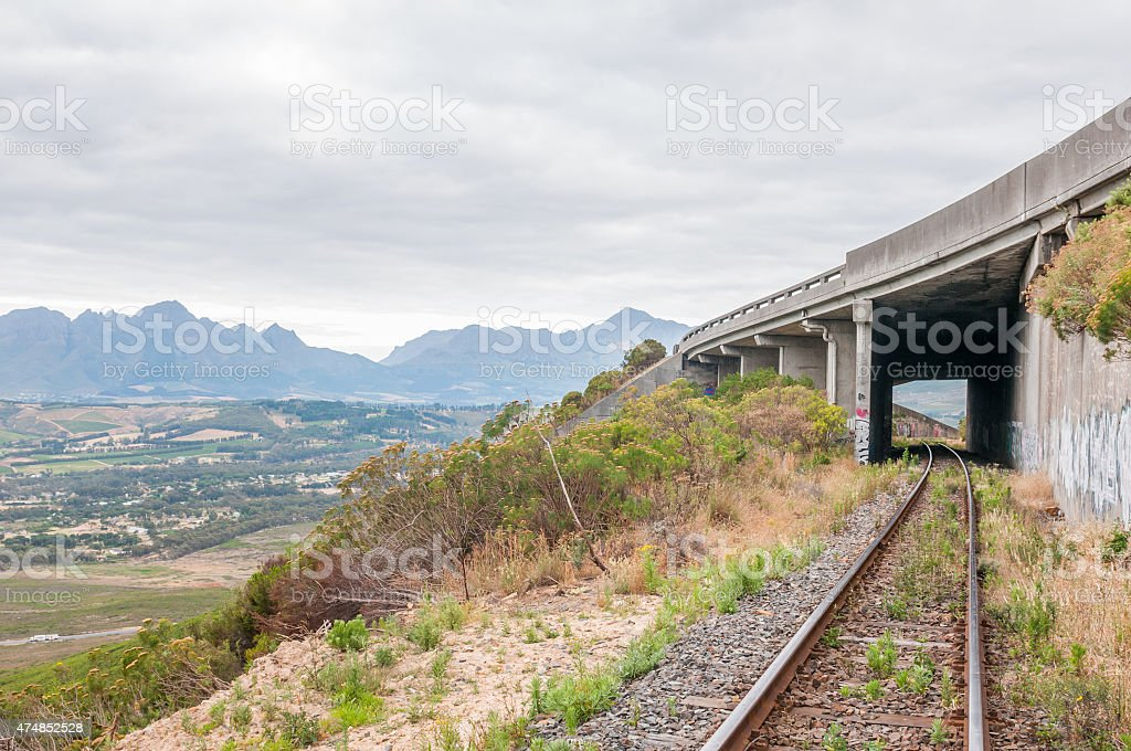 Old, unused roalroad in Sir Lowrys Pass stock photo