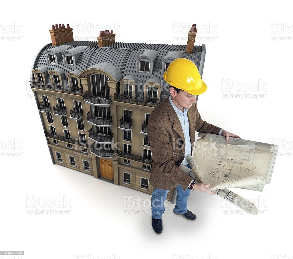 Old urban building renovation stock photo