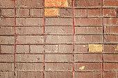 Old Urban Red Brick Wall Texture Grunge Background. Wallpaper Ragged Brickwork May Use in Loft Design. Structure Worn Surface.