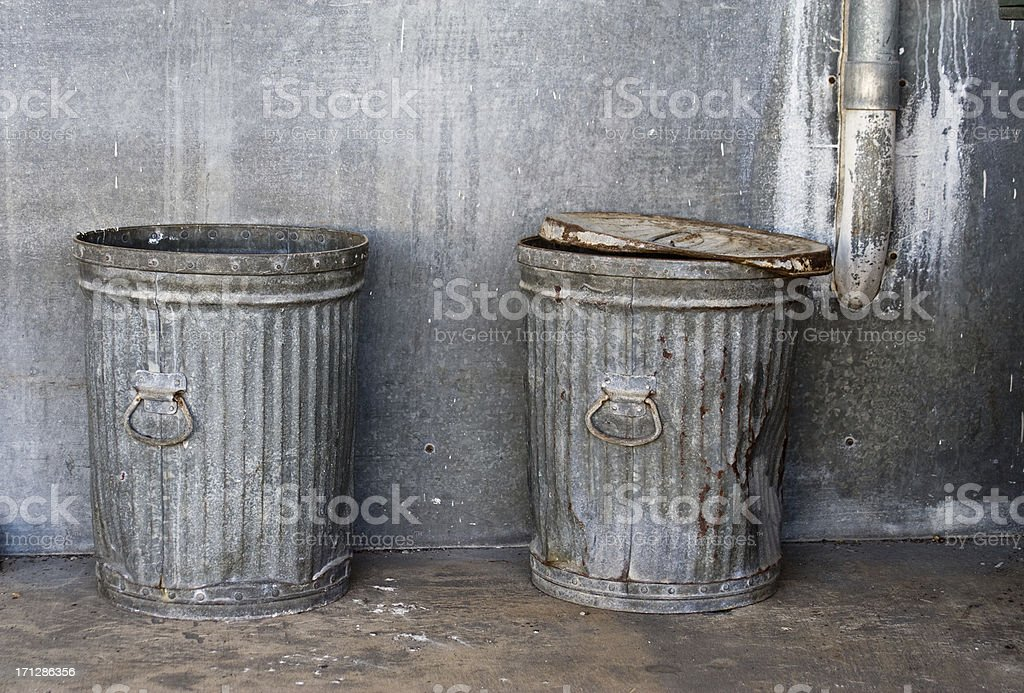 Old Urban Trashcans stock photo