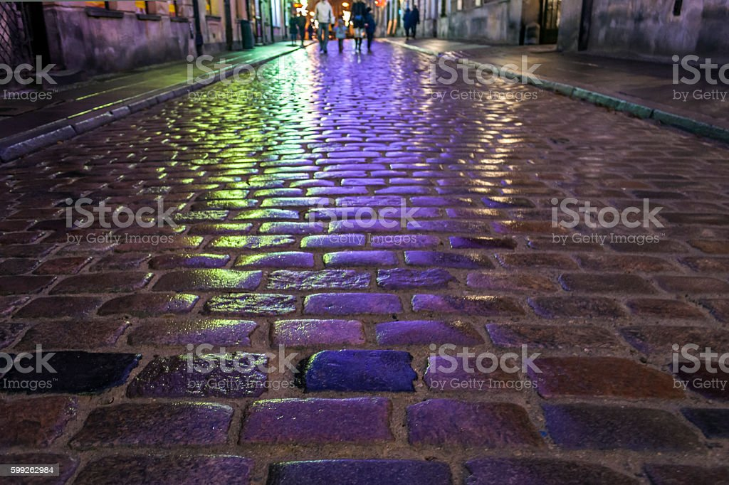 Old, urban way in Old town, Poland stock photo