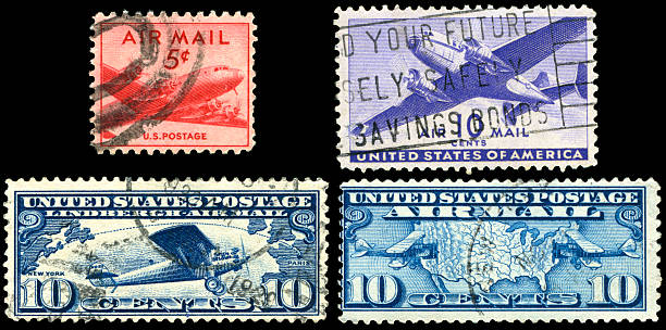 Old US AirMail Stamps stock photo