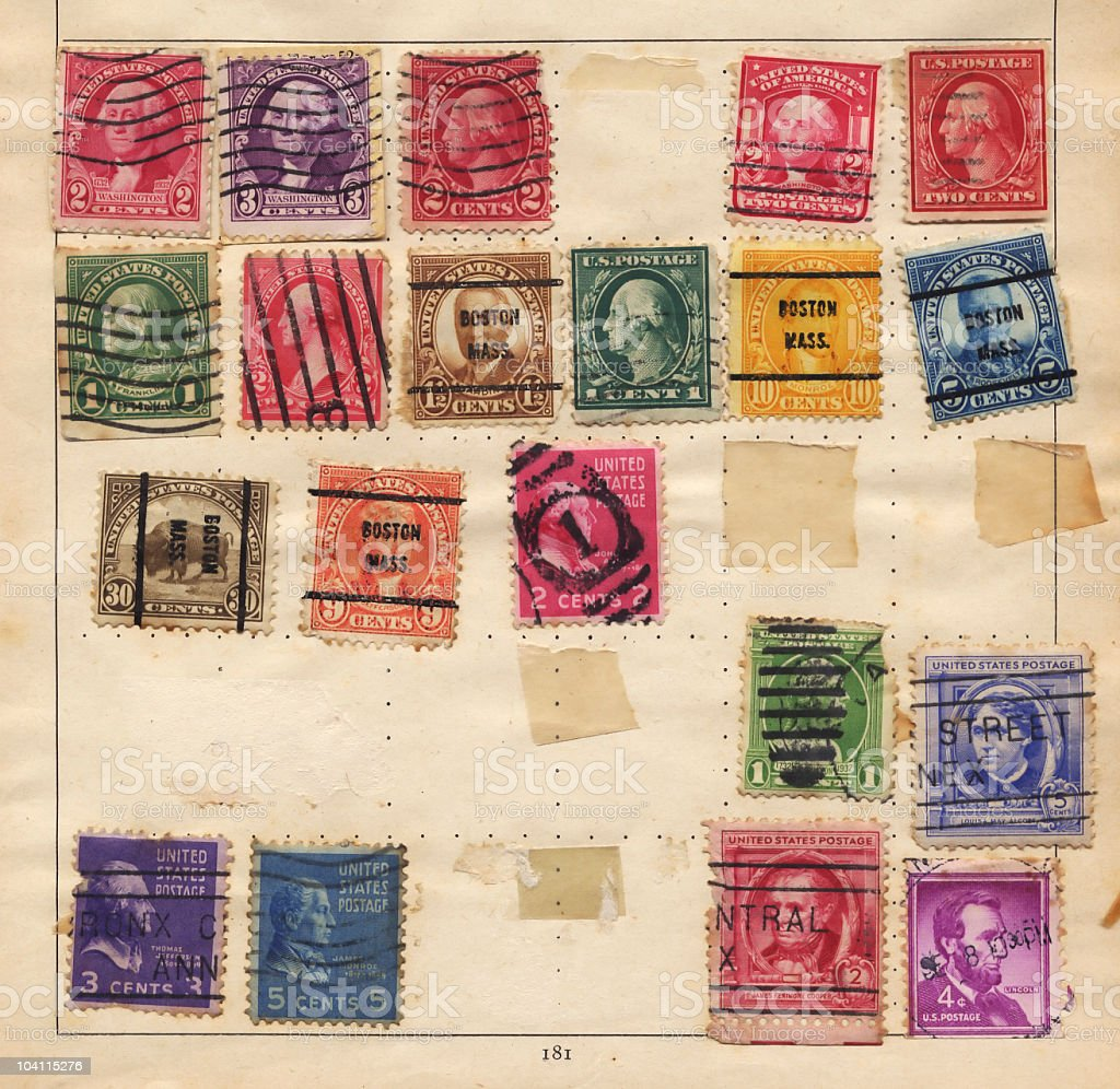 Old US stamps royalty-free stock photo
