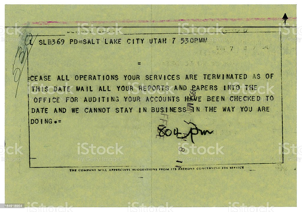 Old US termination of employment telegram, 1957 royalty-free stock photo