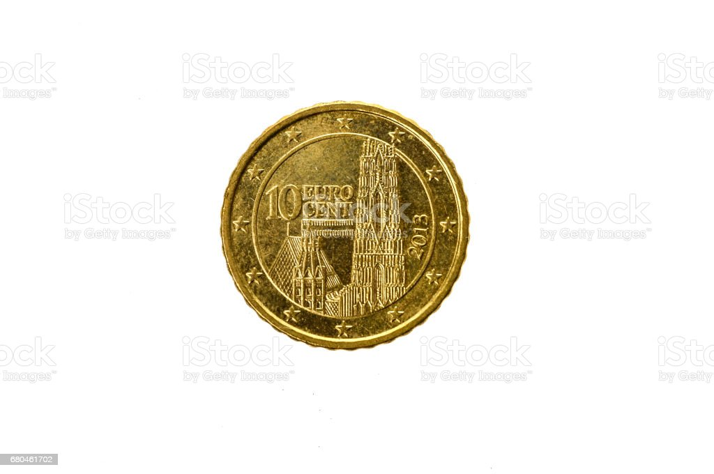 Old used and worn out 10 cents euro coin. stock photo