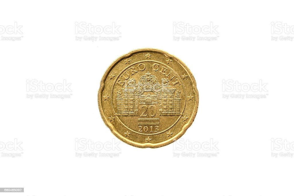 Old used and worn out 20 cents coin. stock photo