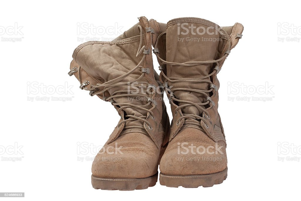 old used desert boots iraq war period isolated stock photo