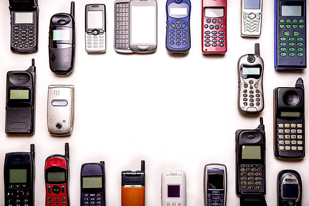 old used mobile phones, copy space foto