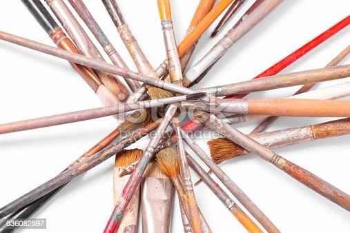 510006691 istock photo Old used paintbrushes 536082597