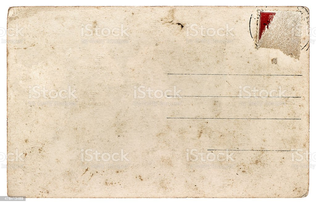 old used postcard. antique paper sheet stock photo
