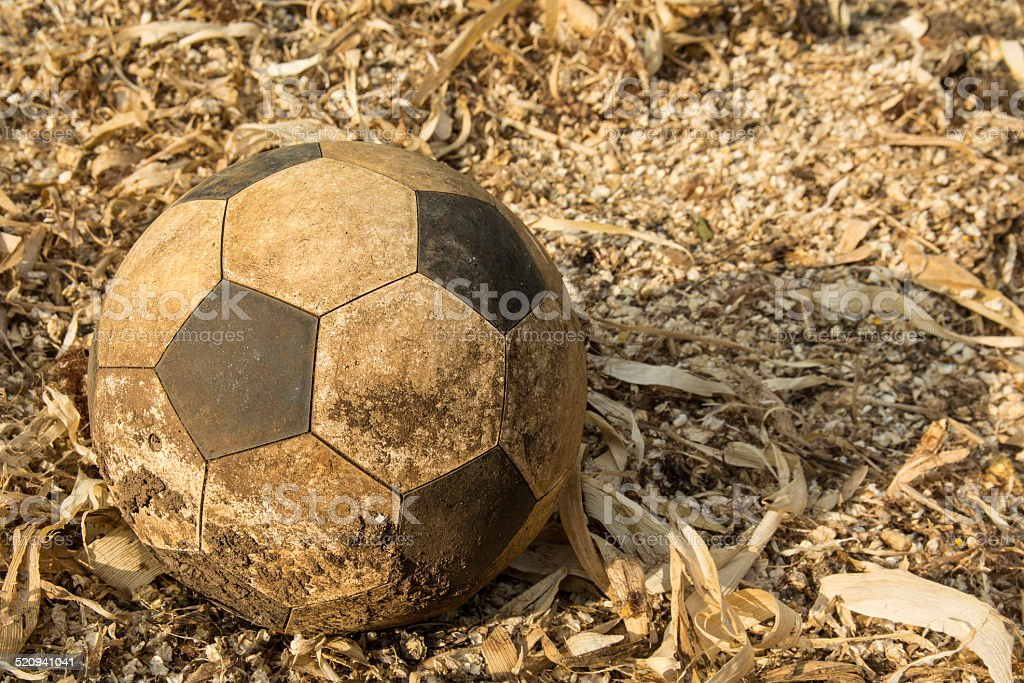 old used soccer ball stock photo