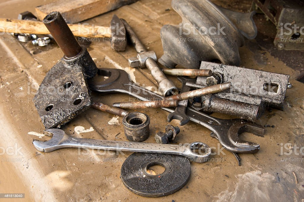old used tools stock photo