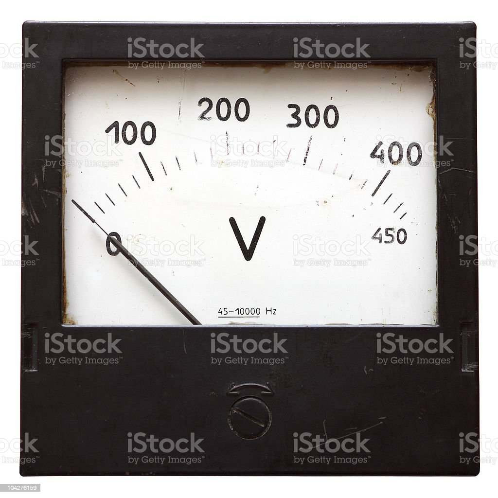 Old used voltmeter isolated on white with clipping path stock photo