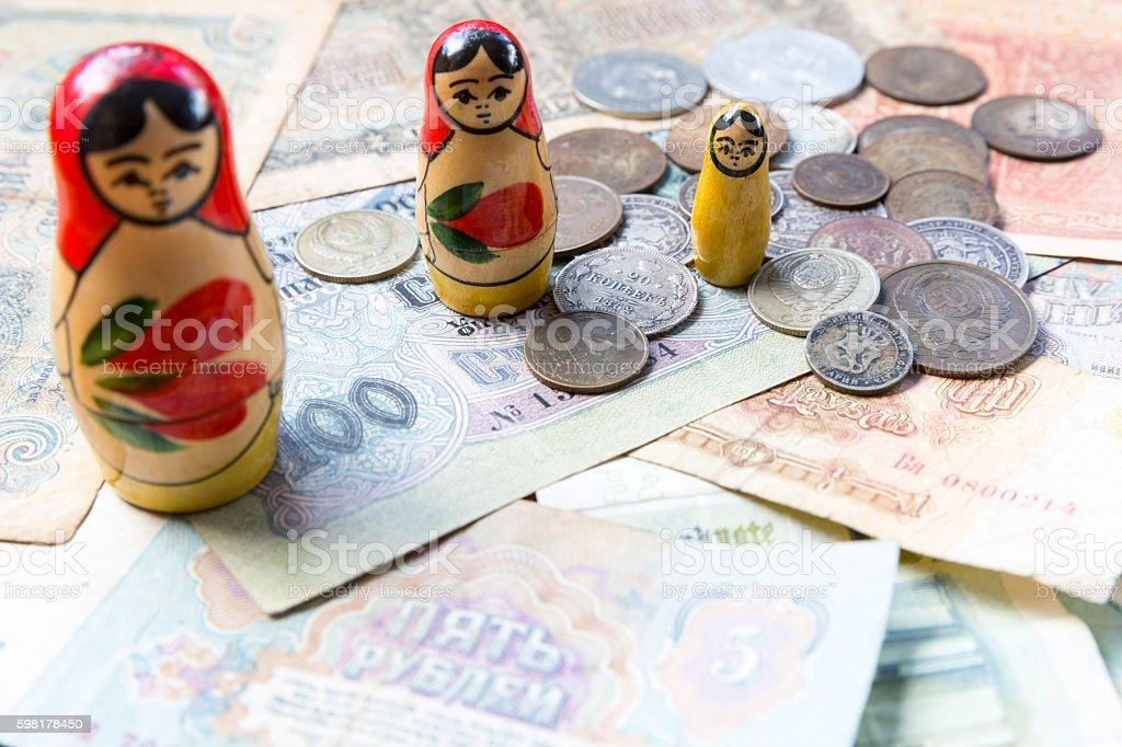 Old USSR money. Matroshka. Rubles stock photo