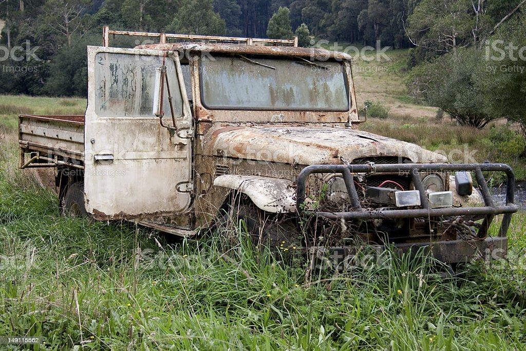Old ute wreck abandoned stock photo