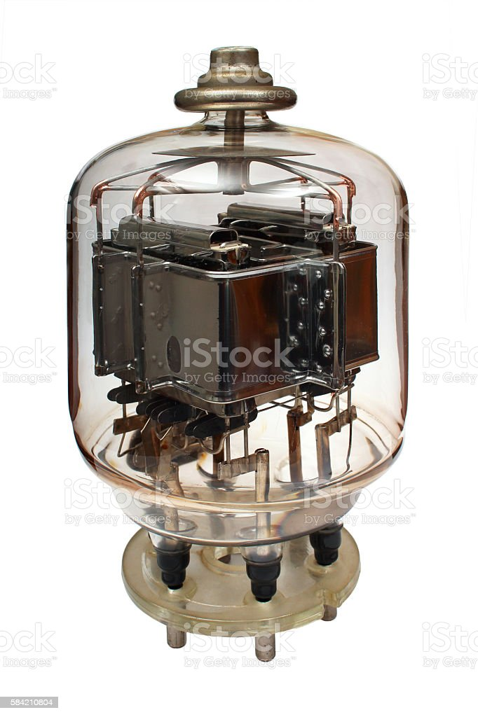 Old vacuum powerful electronic radio tube stock photo