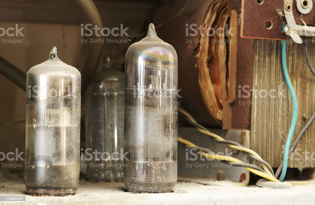 Old vacuum tube radio inside royalty-free stock photo