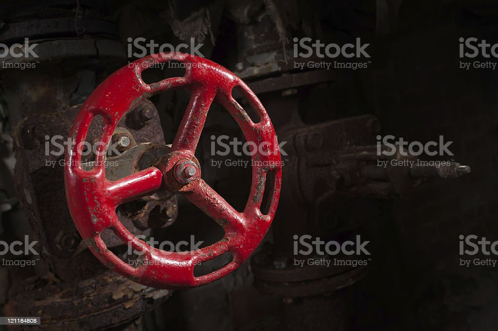 old valve at an abandoned power plant stock photo