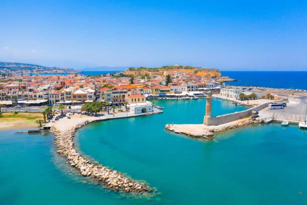 Old Venetian harbor of Rethimno, Crete, Greece stock photo