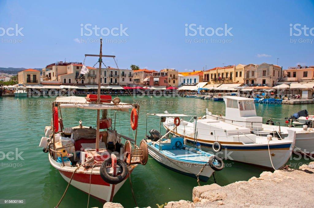 Old venetian port in Rethymnon, Crete stock photo