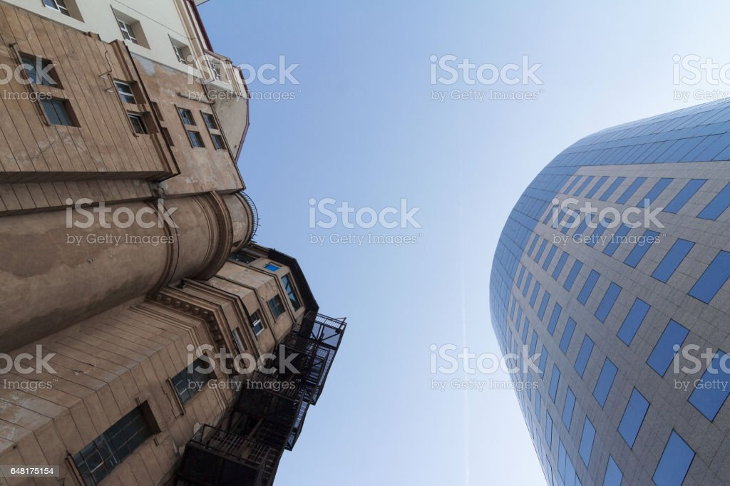 Old versus new architecture stock photo