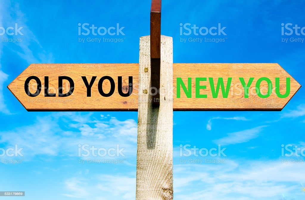 Old versus New You, Life change conceptual image stock photo