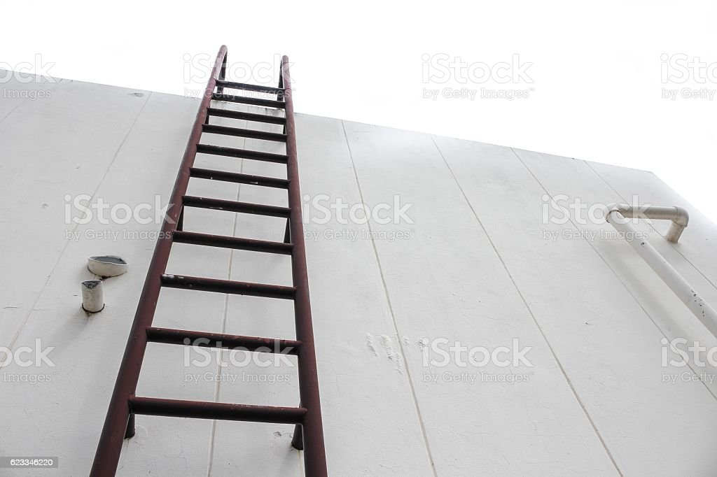 Old Vertical Industrial Metal Rusted Ladder. Staircase To Water  Royalty Free Stock Photo