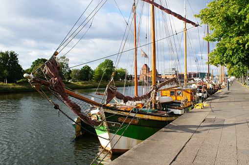 Old vessels or ships at the quay in Lubeck, Germany
