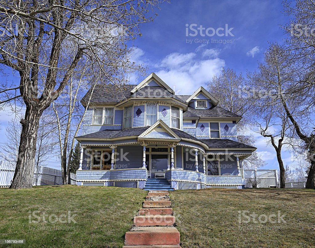 Old Victorian blue house stock photo