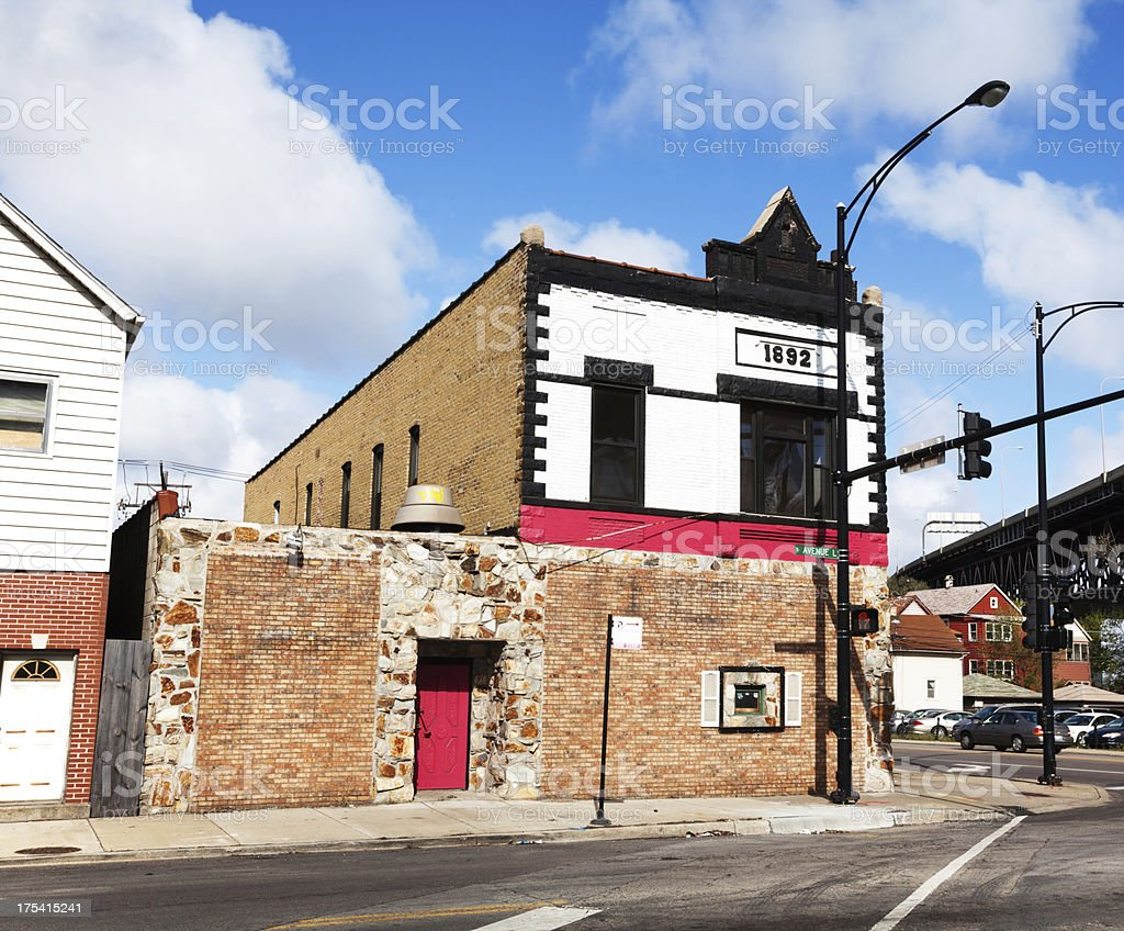 Old Victorian building and Skyway in East Side, Chicago royalty-free stock photo