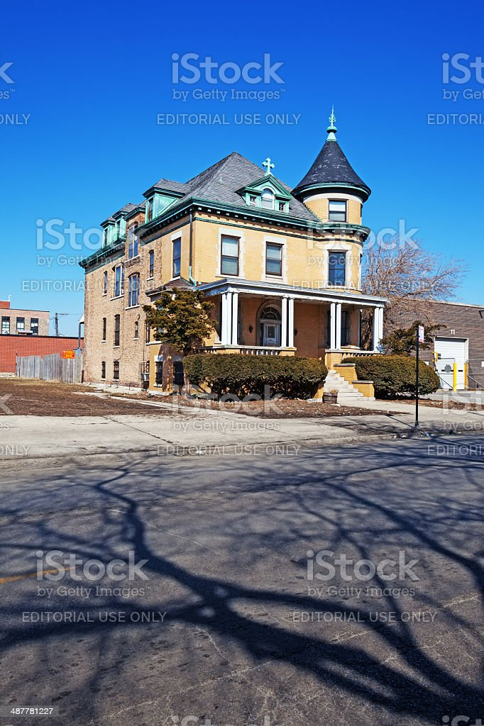 Old Victorian Rectory Mansion in Chicago royalty-free stock photo