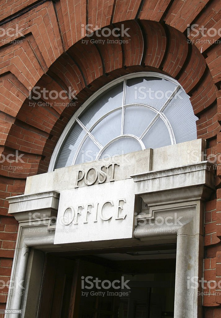 Old Victorian Urban Post Office Arched Front Door royalty-free stock photo