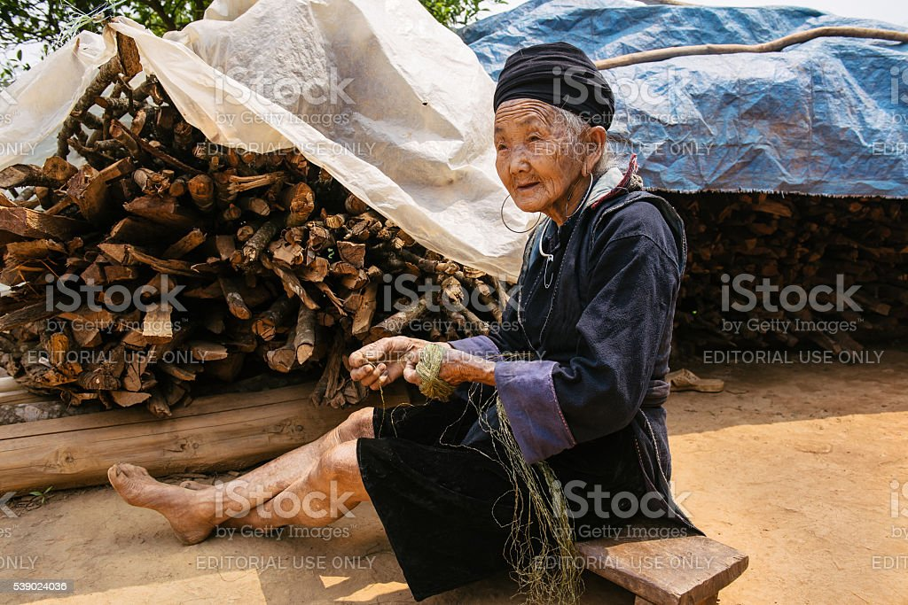 Old vietnamese woman in the village near Sapa stock photo