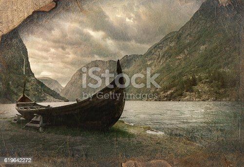 Retro image in painting style in norwegian landscape of old viking boat in Gudvangen village near Flam, Norway