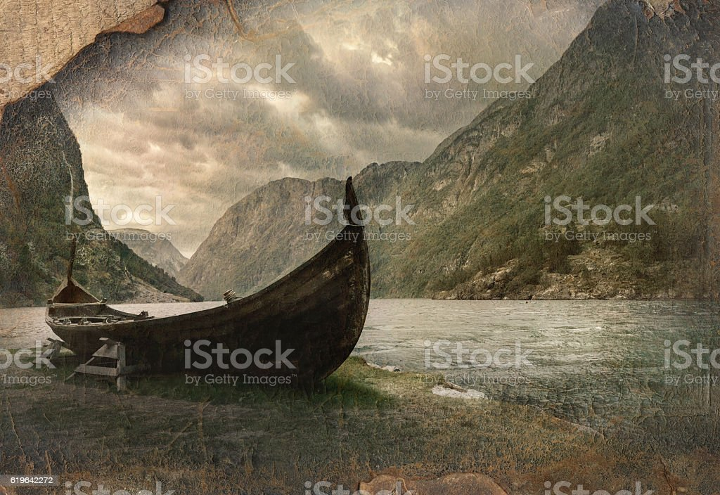 Old viking boat in Gudvangen village near Flam, Norway stock photo