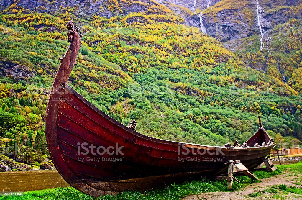 Old viking boat in Sognefjord. Norway stock photo