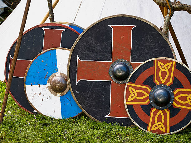 Old viking wooden shields stock photo