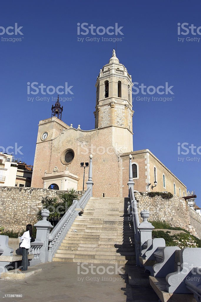Old Village Church and Bell Tower Spain royalty-free stock photo