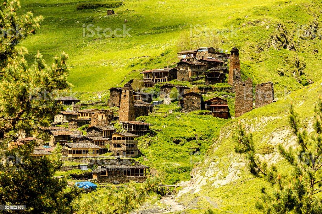 Old village Dartlo.  Georgia. Tusheti stock photo