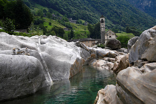 Old Village in Verzasca stock photo